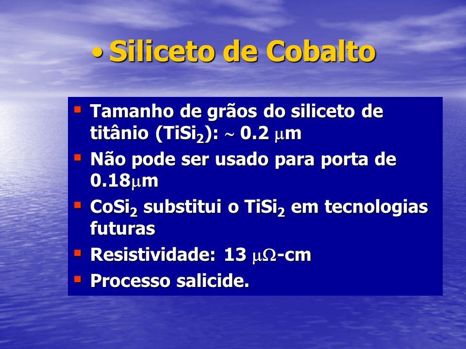 Siliceto de CobaltoSiliceto de Cobalto Tamanho de grãos do siliceto de titânio (TiSi 2 ): 0.2 m Tamanho de grãos do siliceto de titânio (TiSi 2 ): 0.2
