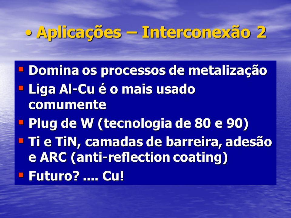 Aplicações do Nitreto de TitânioAplicações do Nitreto de Titânio Camada de barreira Camada de barreira –Previne difusão de tungstênio Camada de adesão Camada de adesão –Auxilia na adesão do tungstênio sobre a superfície do óxido de silício Cobertura anti-reflexão (ARC) Cobertura anti-reflexão (ARC) –Reduz reflexão e melhora resolução da fotoligrafia no processo com metais –Previne hillock e controla eletromigração Interconexão local: dimensões curtas.