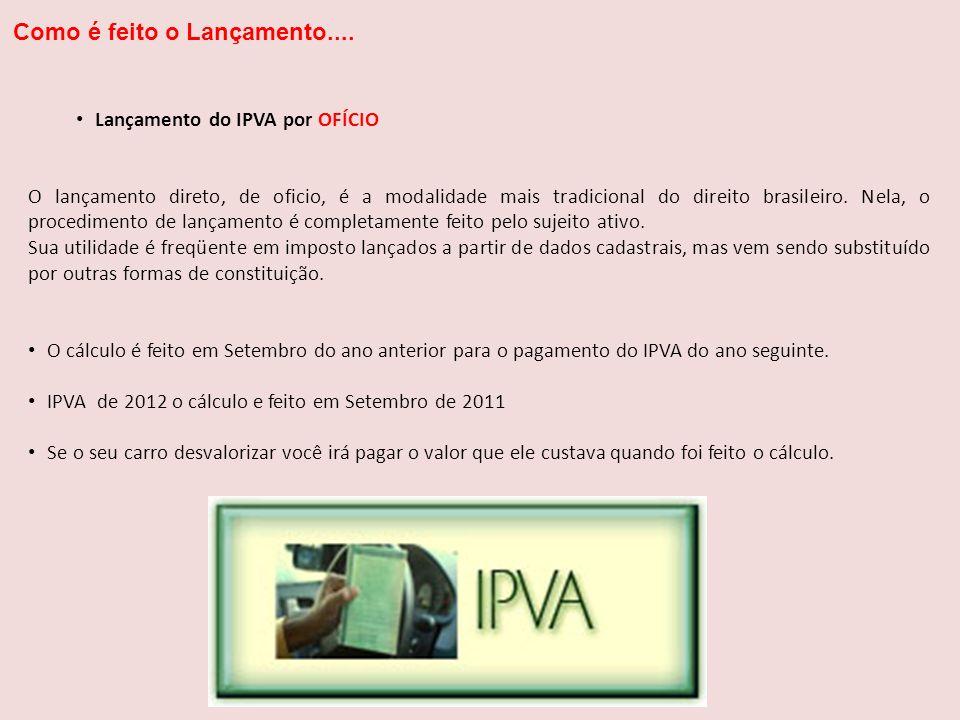 Lançamento do IPVA por OFÍCIO O lançamento direto, de oficio, é a modalidade mais tradicional do direito brasileiro. Nela, o procedimento de lançament