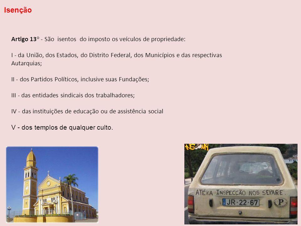 Artigo 13° - São isentos do imposto os veículos de propriedade: I - da União, dos Estados, do Distrito Federal, dos Municípios e das respectivas Autar