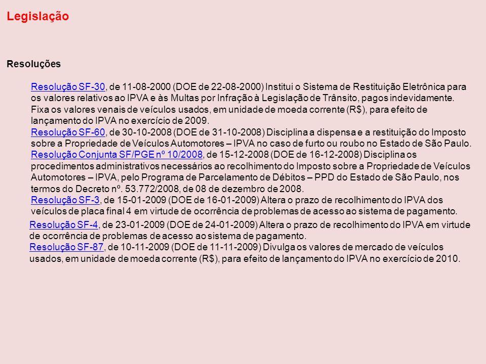Resoluções Resolução SF-30Resolução SF-30, de 11-08-2000 (DOE de 22-08-2000) Institui o Sistema de Restituição Eletrônica para os valores relativos ao