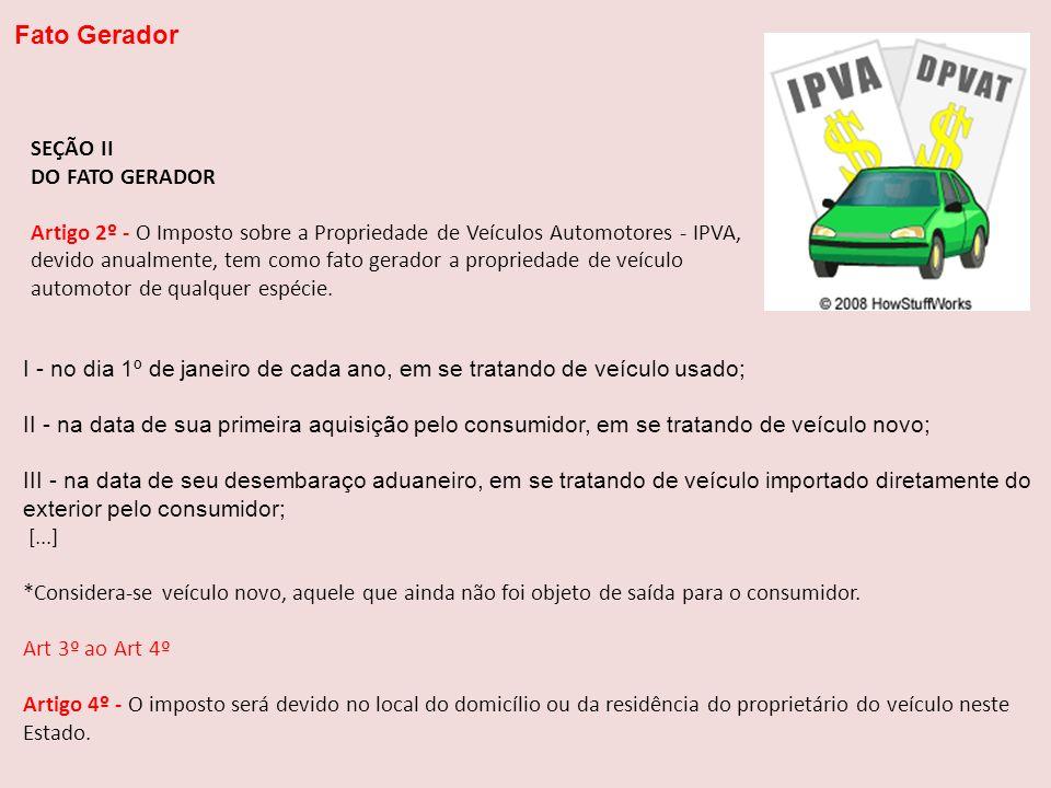 I - no dia 1º de janeiro de cada ano, em se tratando de veículo usado; II - na data de sua primeira aquisição pelo consumidor, em se tratando de veícu