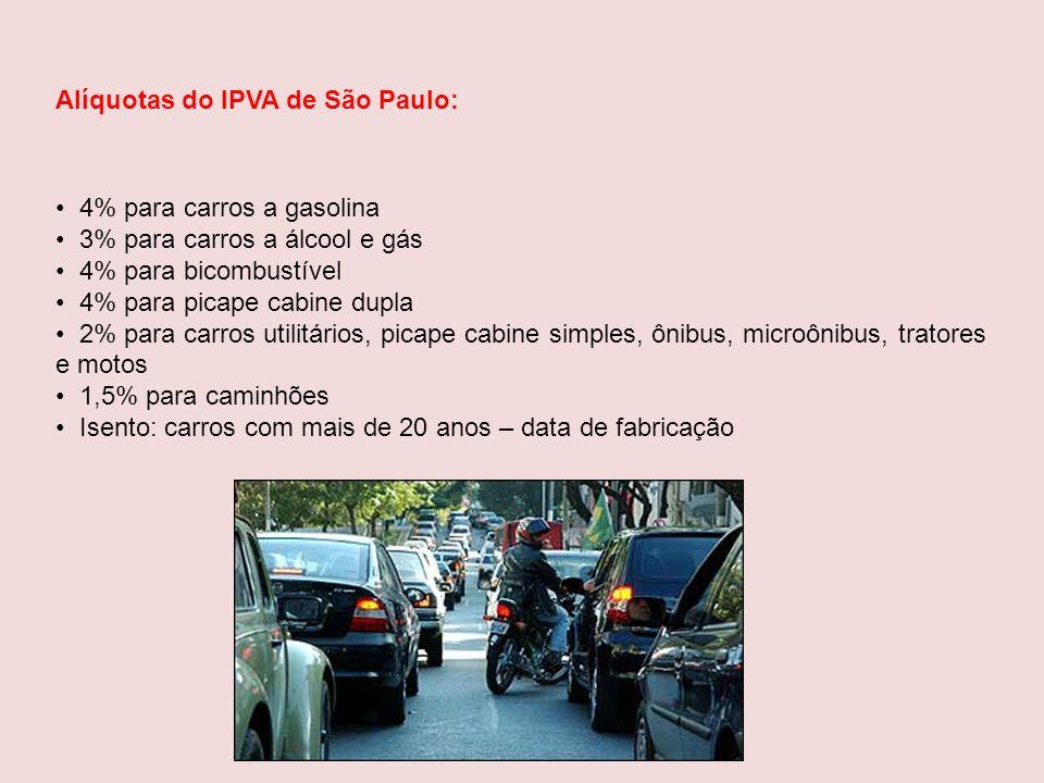 Alíquotas do IPVA de São Paulo: 4% para carros a gasolina 3% para carros a álcool e gás 4% para bicombustível 4% para picape cabine dupla 2% para carr