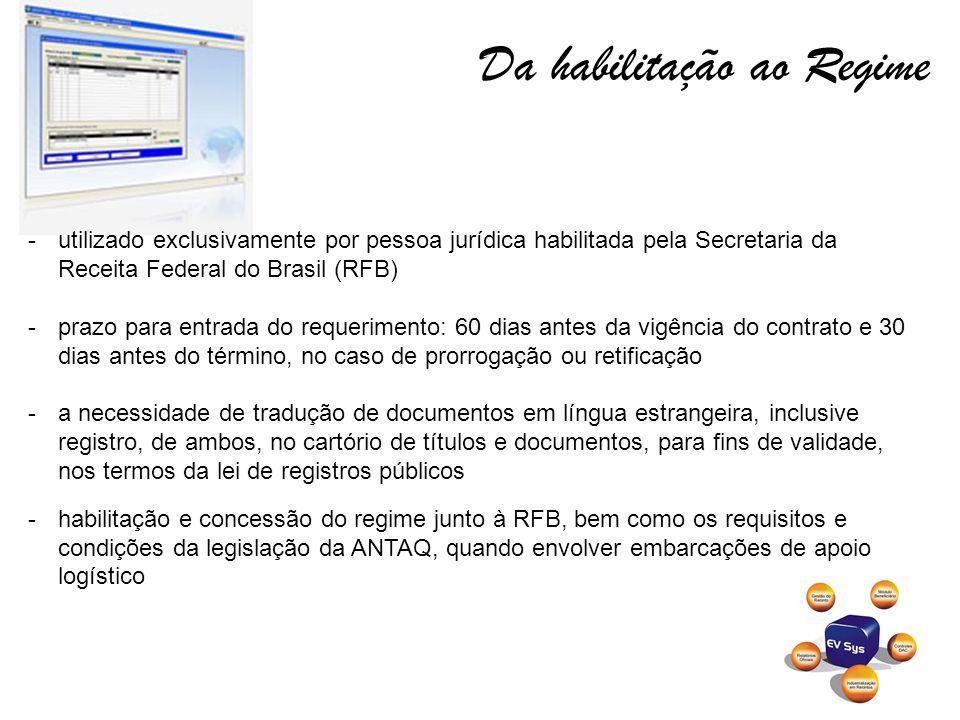 Da habilitação ao Regime -utilizado exclusivamente por pessoa jurídica habilitada pela Secretaria da Receita Federal do Brasil (RFB) -prazo para entra