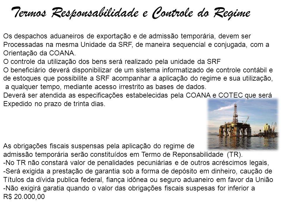 Termos Responsabilidade e Controle do Regime Os despachos aduaneiros de exportação e de admissão temporária, devem ser Processadas na mesma Unidade da