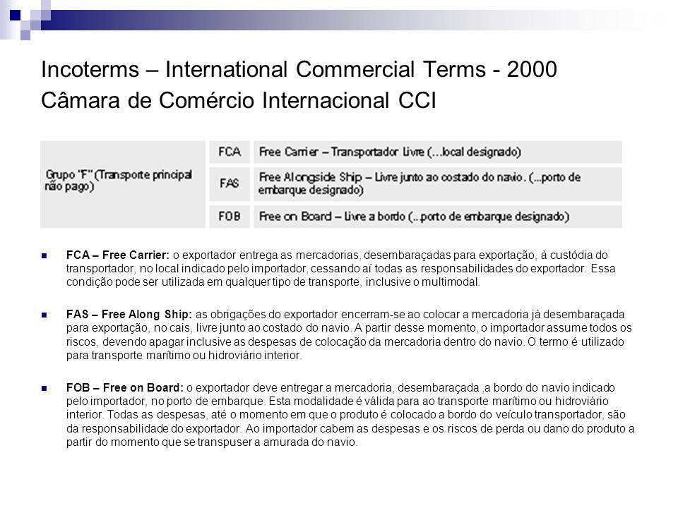 Incoterms – International Commercial Terms - 2000 Câmara de Comércio Internacional CCI Ponto Crítico de Perdas e Avarias: Mercadoria no guindaste, antes do embarque do navio.