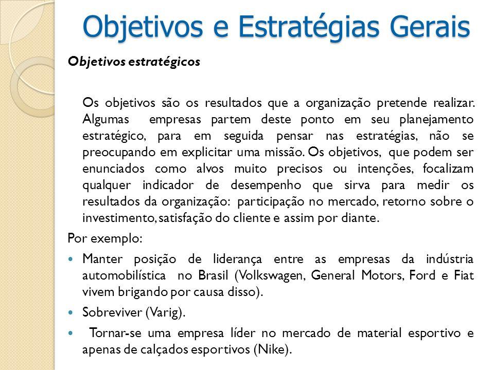 Objetivos estratégicos Os objetivos são os resultados que a organização pretende realizar. Algumas empresas partem deste ponto em seu planejamento est