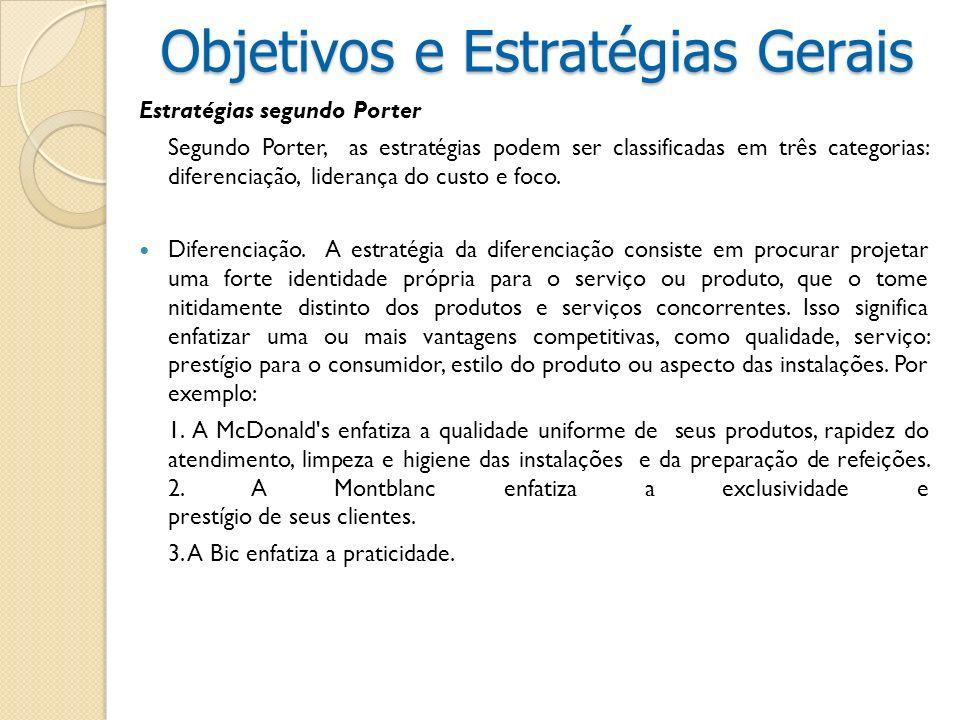 Estratégias segundo Porter Segundo Porter, as estratégias podem ser classificadas em três categorias: diferenciação, liderança do custo e foco. Difere