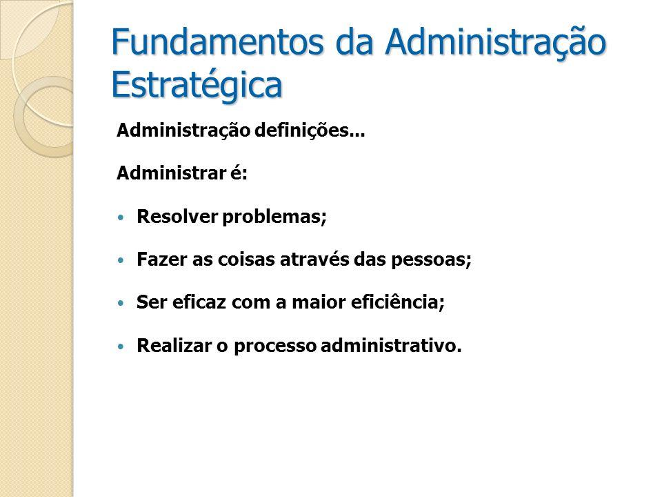 Fundamentos da Administração Estratégica Administração definições... Administrar é: Resolver problemas; Fazer as coisas através das pessoas; Ser efica