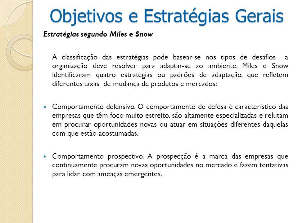 Estratégias segundo Miles e Snow A classificação das estratégias pode basear-se nos tipos de desafios a organização deve resolver para adaptar-se ao a