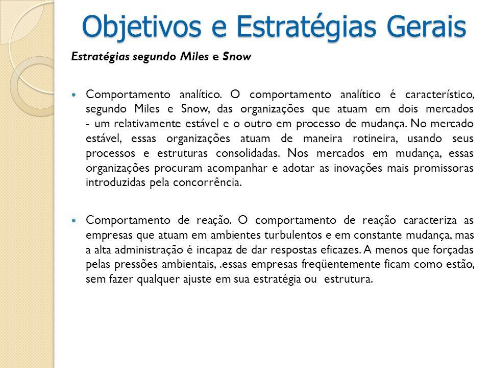 Estratégias segundo Miles e Snow Comportamento analítico. O comportamento analítico é característico, segundo Miles e Snow, das organizações que atuam