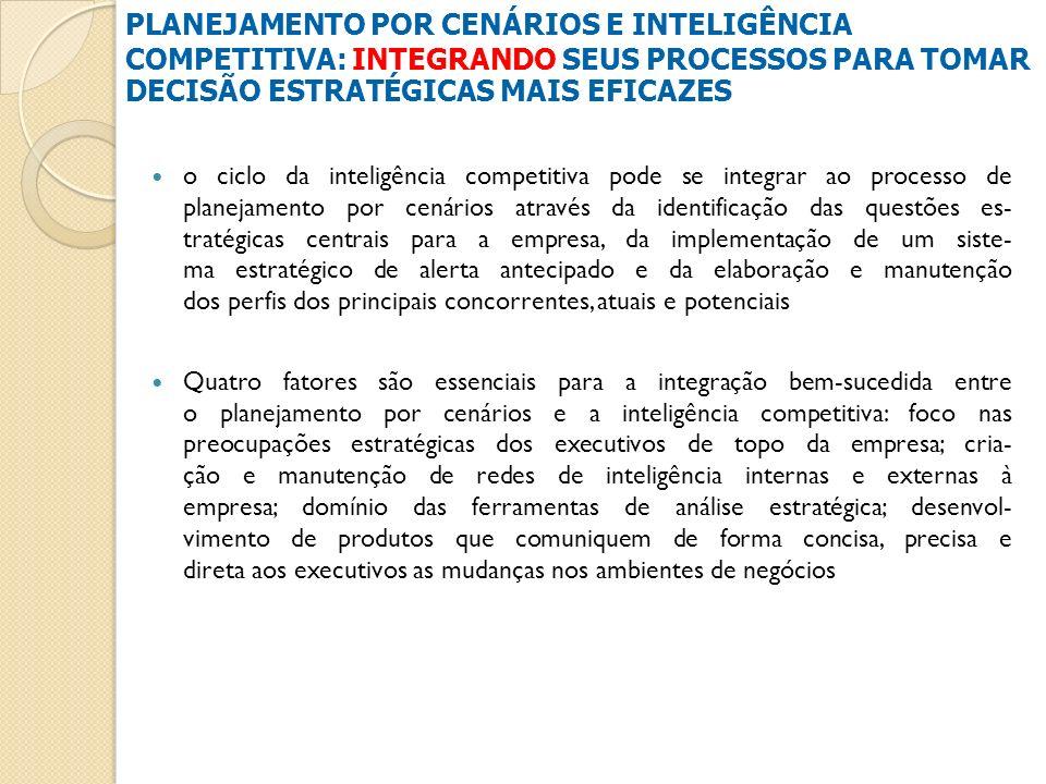 o ciclo da inteligência competitiva pode se integrar ao processo de planejamento por cenários através da identificação das questões es- tratégicas cen