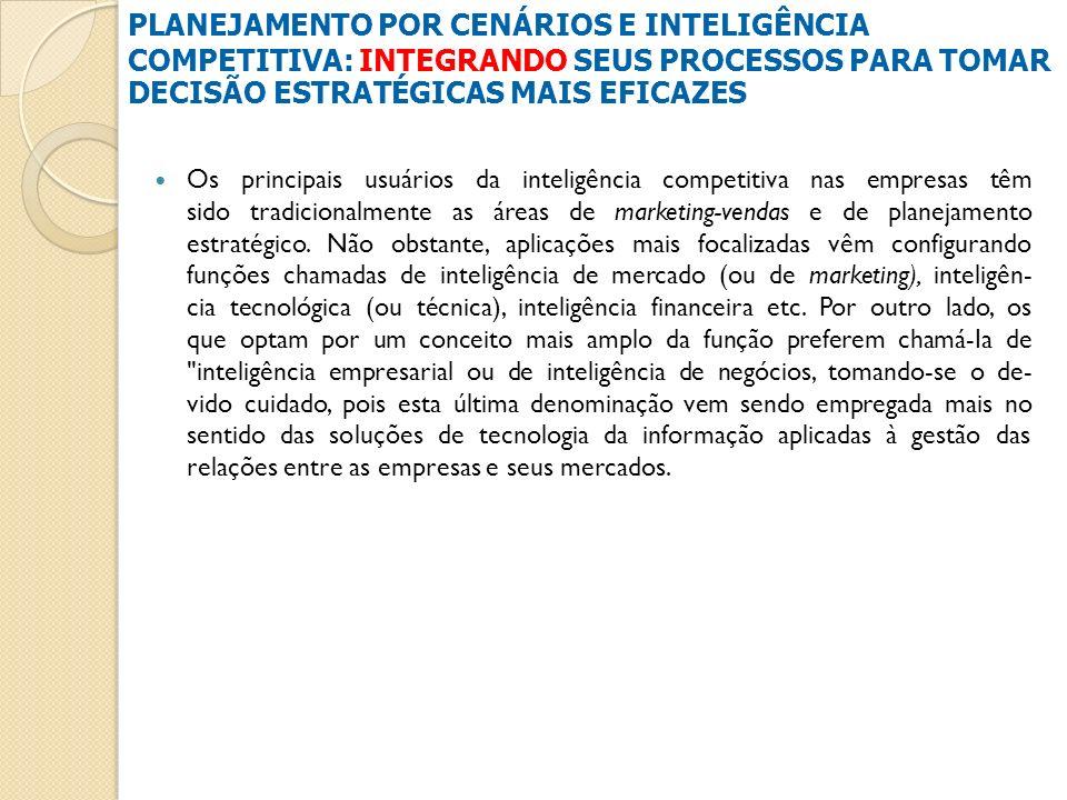 Os principais usuários da inteligência competitiva nas empresas têm sido tradicionalmente as áreas de marketing-vendas e de planejamento estratégico.