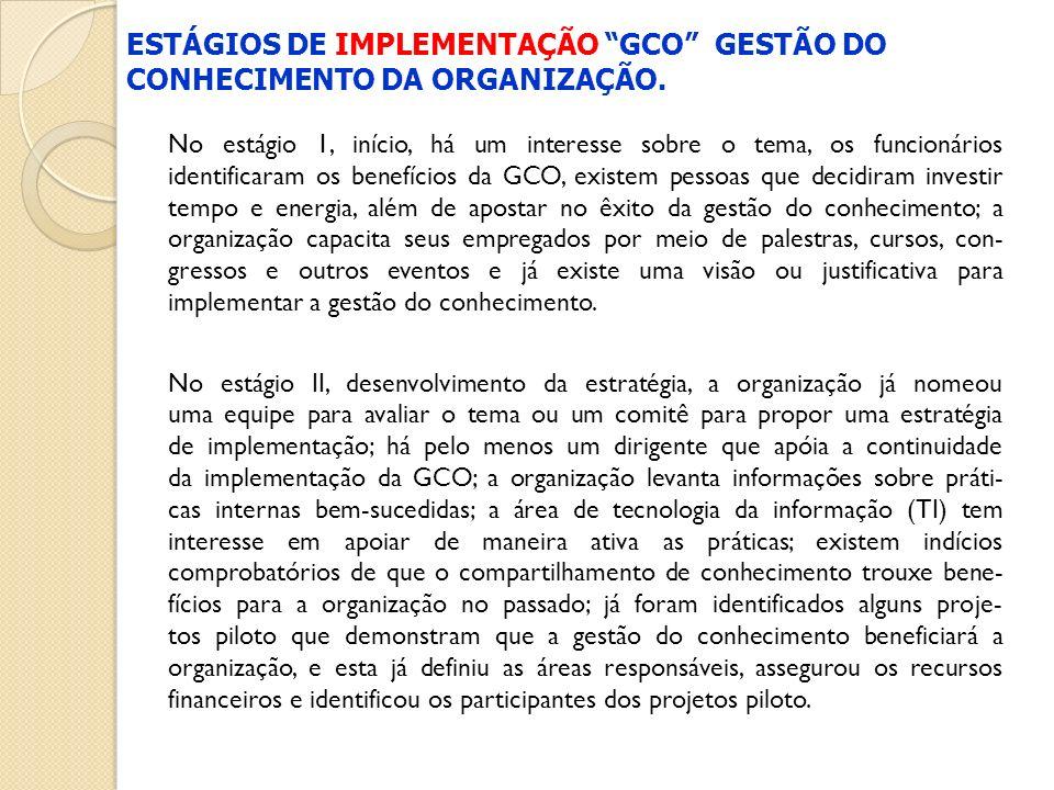 No estágio 1, início, há um interesse sobre o tema, os funcionários identificaram os benefícios da GCO, existem pessoas que decidiram investir tempo e