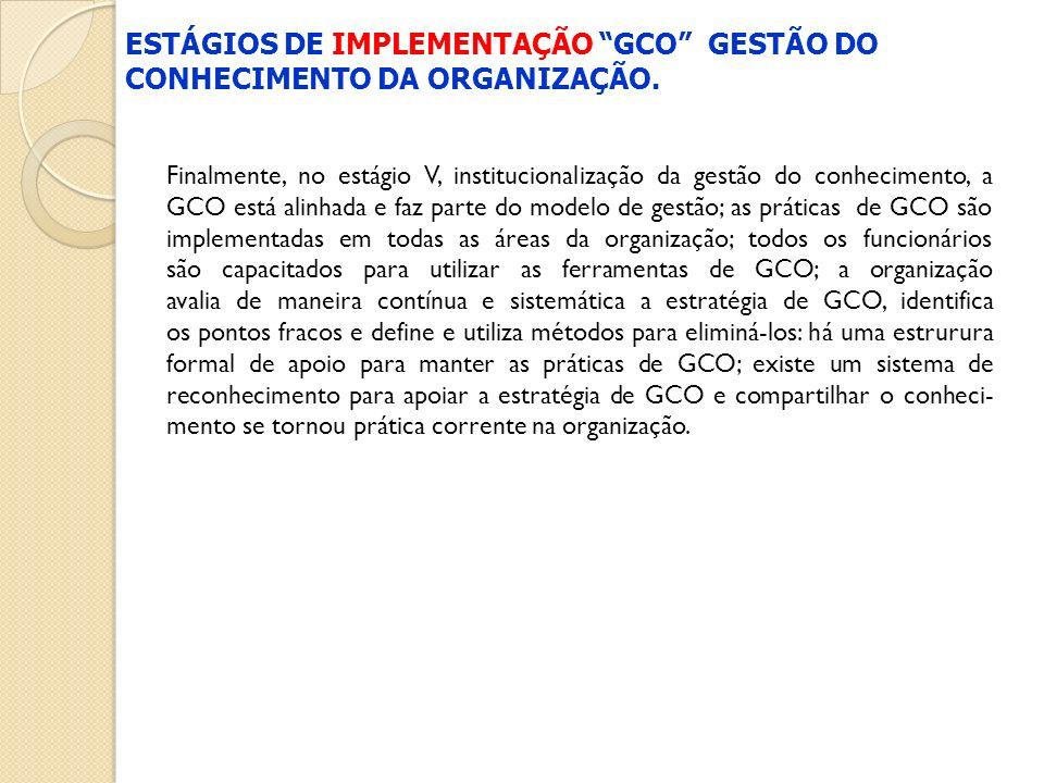 Finalmente, no estágio V, institucionalização da gestão do conhecimento, a GCO está alinhada e faz parte do modelo de gestão; as práticas de GCO são i