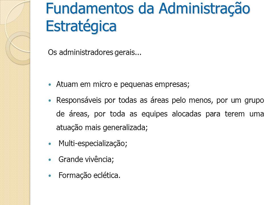 Fundamentos da Administração Estratégica Os administradores – escala de atuação...