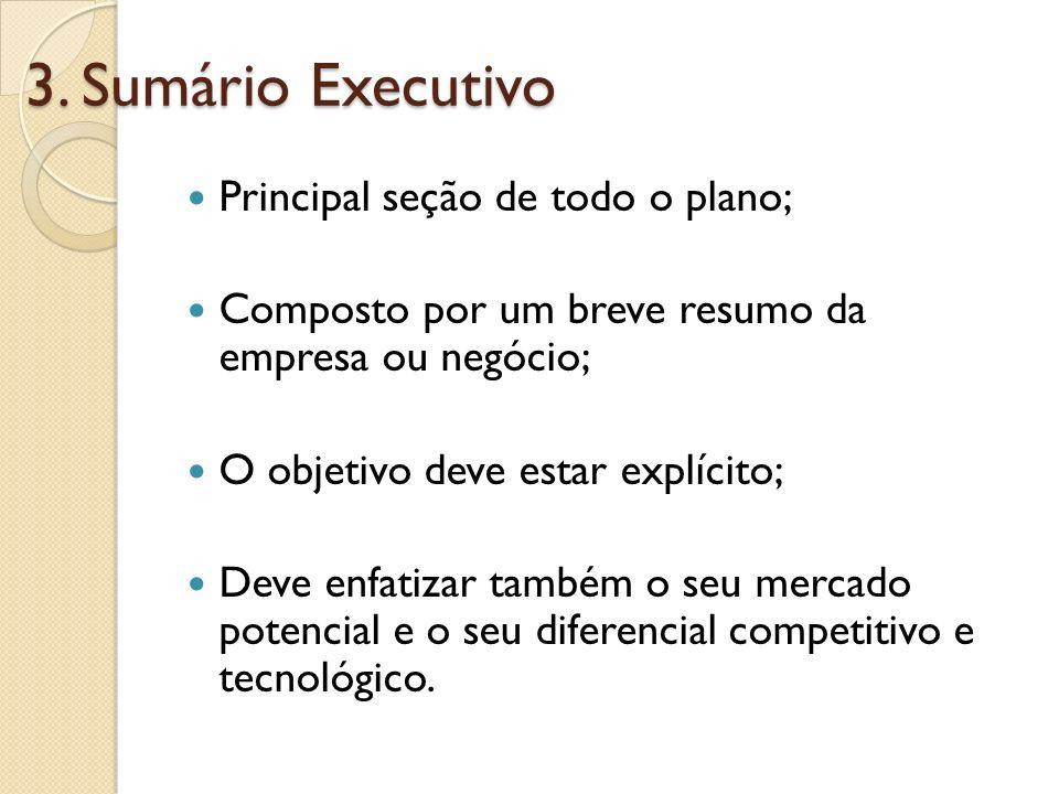 3. Sumário Executivo Principal seção de todo o plano; Composto por um breve resumo da empresa ou negócio; O objetivo deve estar explícito; Deve enfati