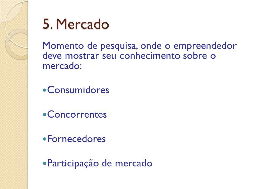 5. Mercado Momento de pesquisa, onde o empreendedor deve mostrar seu conhecimento sobre o mercado: Consumidores Concorrentes Fornecedores Participação