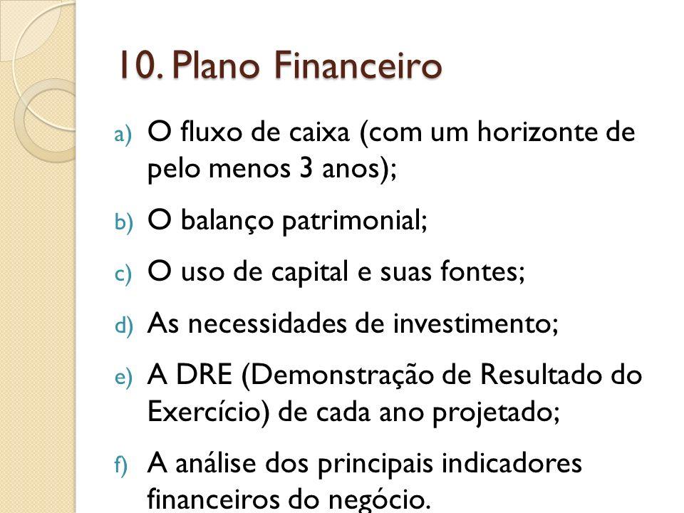 10. Plano Financeiro a) O fluxo de caixa (com um horizonte de pelo menos 3 anos); b) O balanço patrimonial; c) O uso de capital e suas fontes; d) As n