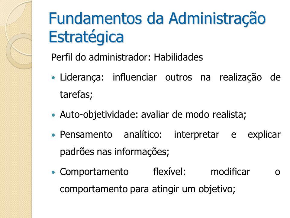Fundamentos da Administração Estratégica Perfil do administrador: Habilidades Liderança: influenciar outros na realização de tarefas; Auto-objetividad