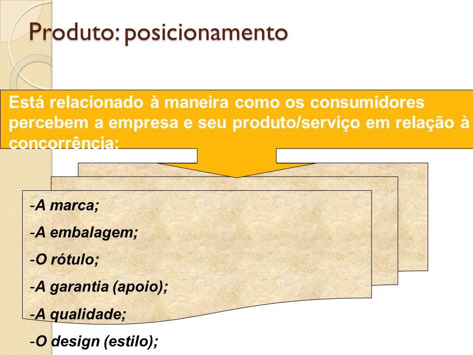 Produto: posicionamento -A marca; -A embalagem; -O rótulo; -A garantia (apoio); -A qualidade; -O design (estilo); Está relacionado à maneira como os c