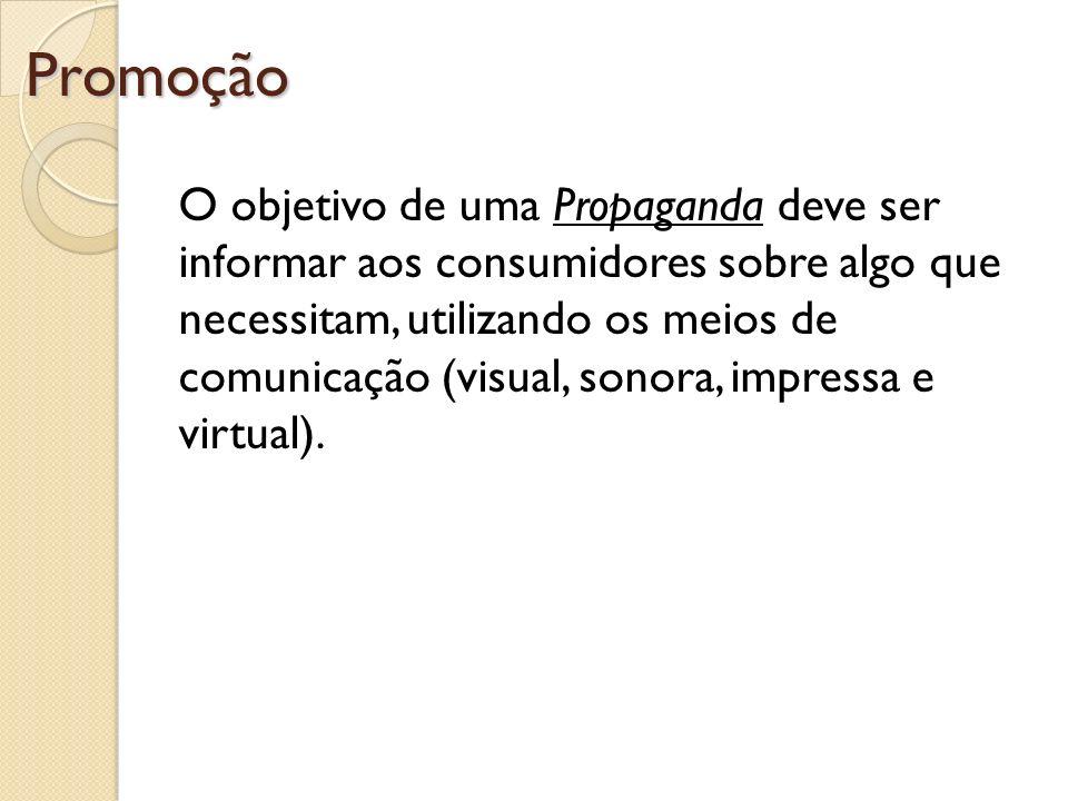 Promoção O objetivo de uma Propaganda deve ser informar aos consumidores sobre algo que necessitam, utilizando os meios de comunicação (visual, sonora