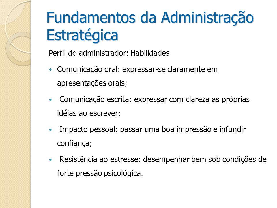 Fundamentos da Administração Estratégica Perfil do administrador: Habilidades Comunicação oral: expressar-se claramente em apresentações orais; Comuni
