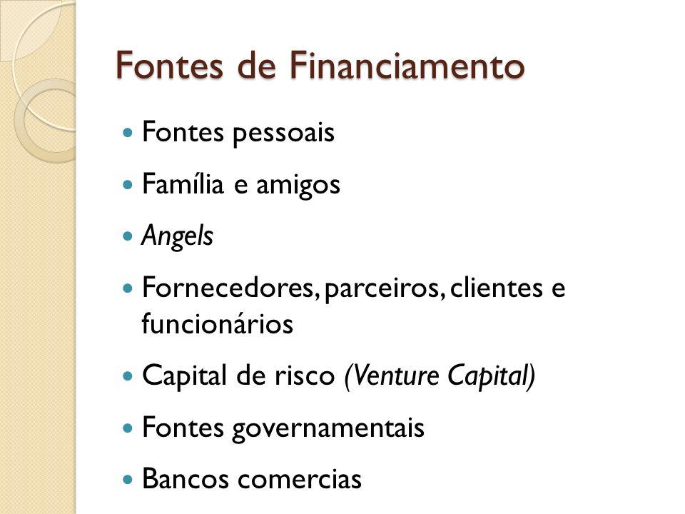 Fontes de Financiamento Fontes pessoais Família e amigos Angels Fornecedores, parceiros, clientes e funcionários Capital de risco (Venture Capital) Fo