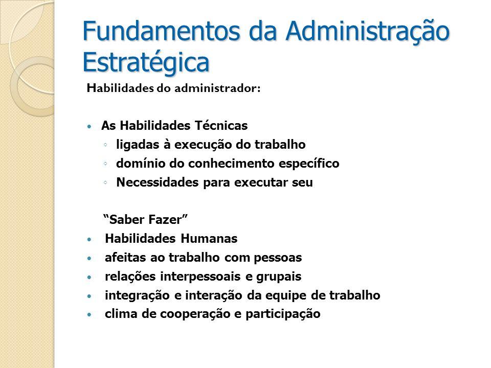Fundamentos da Administração Estratégica Habilidades do administrador: As Habilidades Técnicas ligadas à execução do trabalho domínio do conhecimento