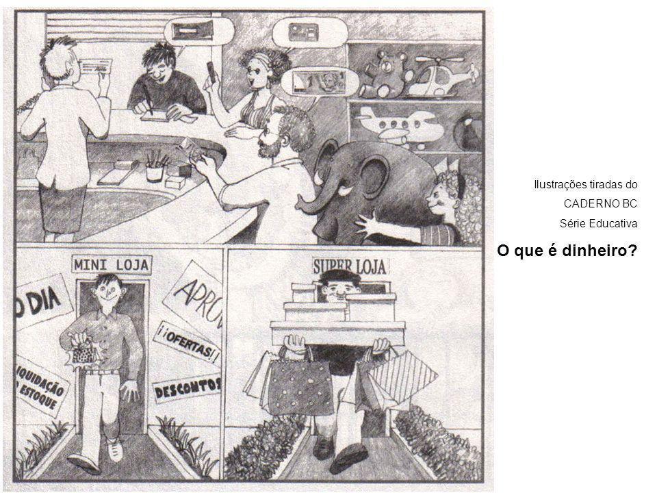 Ilustrações tiradas do CADERNO BC Série Educativa O que é dinheiro?