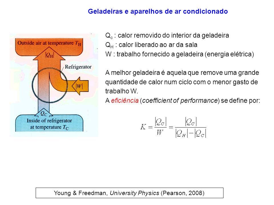 Q c : calor removido do interior da geladeira Q H : calor liberado ao ar da sala W : trabalho fornecido a geladeira (energia elétrica) A melhor gelade
