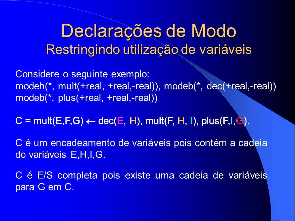 Declarações de Modo Restringindo utilização de variáveis.