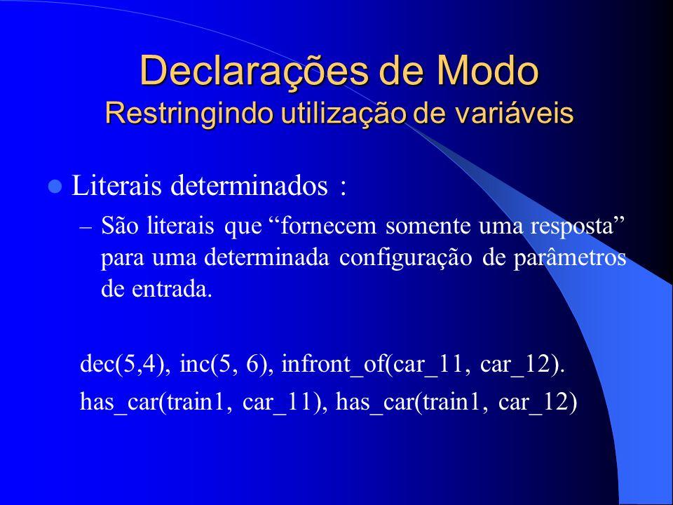 Declarações de Modo Restringindo utilização de variáveis Literais determinados : – São literais que fornecem somente uma resposta para uma determinada configuração de parâmetros de entrada.