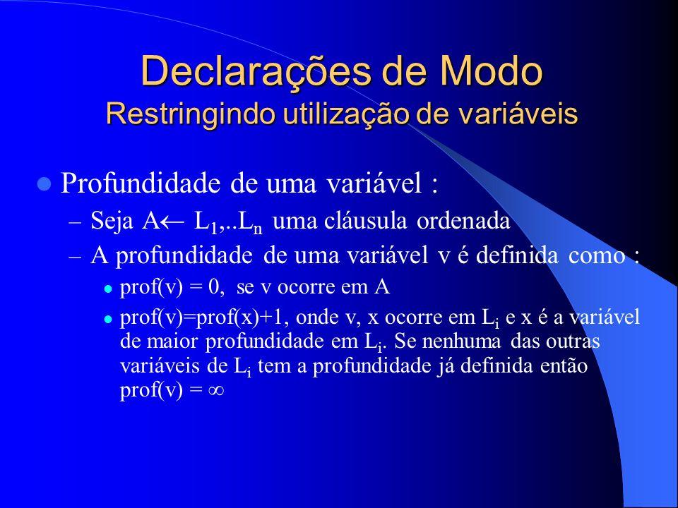 Declarações de Modo Restringindo utilização de variáveis Profundidade de uma variável : – Seja A L 1,..L n uma cláusula ordenada – A profundidade de uma variável v é definida como : prof(v) = 0, se v ocorre em A prof(v)=prof(x)+1, onde v, x ocorre em L i e x é a variável de maior profundidade em L i.