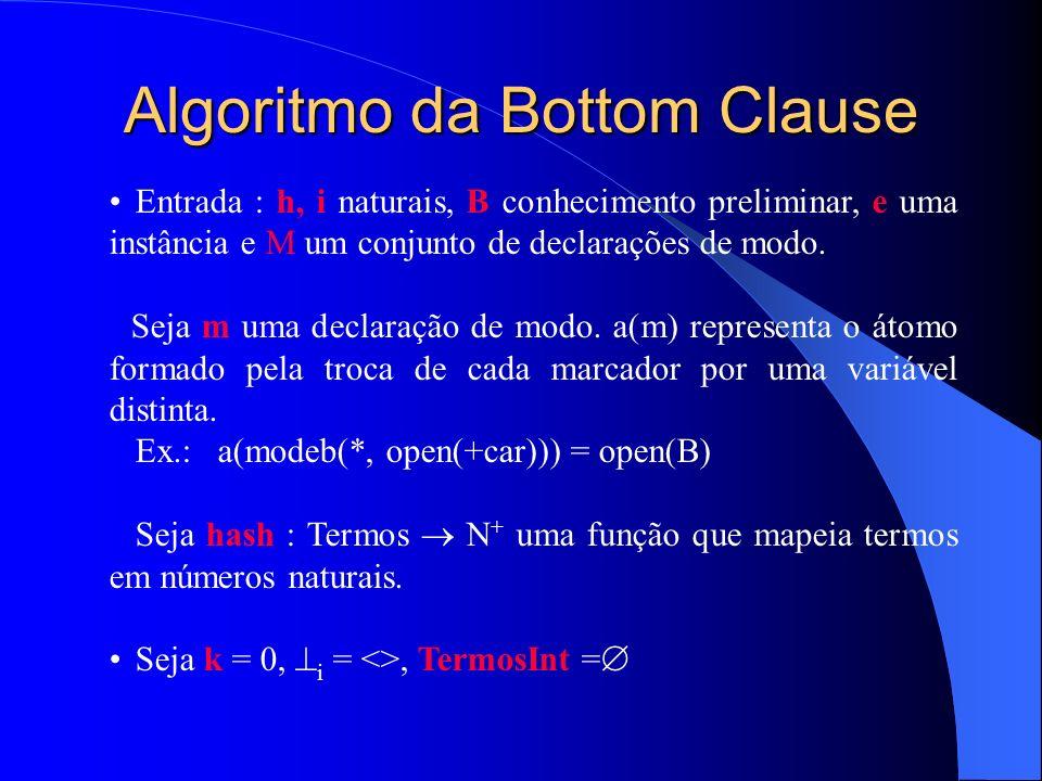 Algoritmo da Bottom Clause Entrada : h, i naturais, B conhecimento preliminar, e uma instância e M um conjunto de declarações de modo.