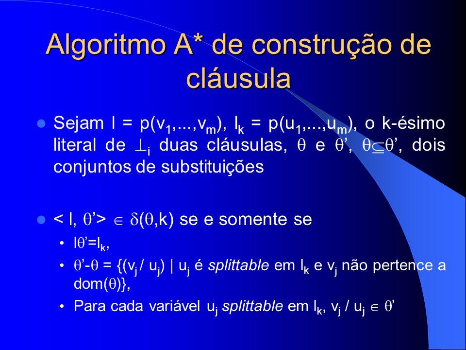 Algoritmo A* de construção de cláusula Sejam l = p(v 1,...,v m ), l k = p(u 1,...,u m ), o k-ésimo literal de i duas cláusulas, e,, dois conjuntos de substituições (,k) se e somente se l =l k, - = {(v j / u j ) | u j é splittable em l k e v j não pertence a dom( )}, Para cada variável u j splittable em l k, v j / u j