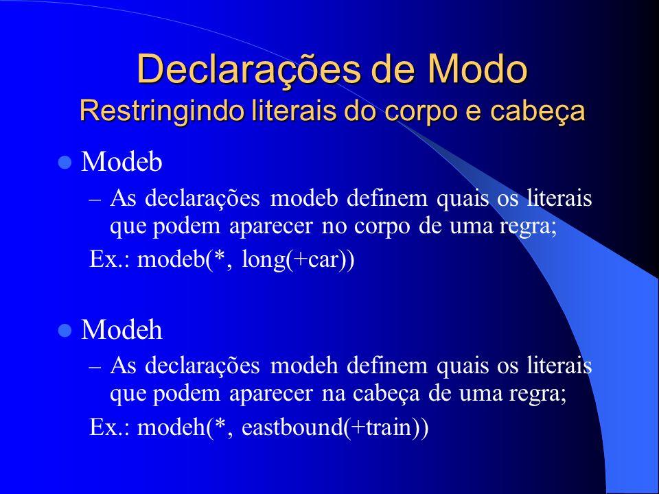 Declarações de Modo Restringindo literais do corpo e cabeça Modeb – As declarações modeb definem quais os literais que podem aparecer no corpo de uma regra; Ex.: modeb(*, long(+car)) Modeh – As declarações modeh definem quais os literais que podem aparecer na cabeça de uma regra; Ex.: modeh(*, eastbound(+train))