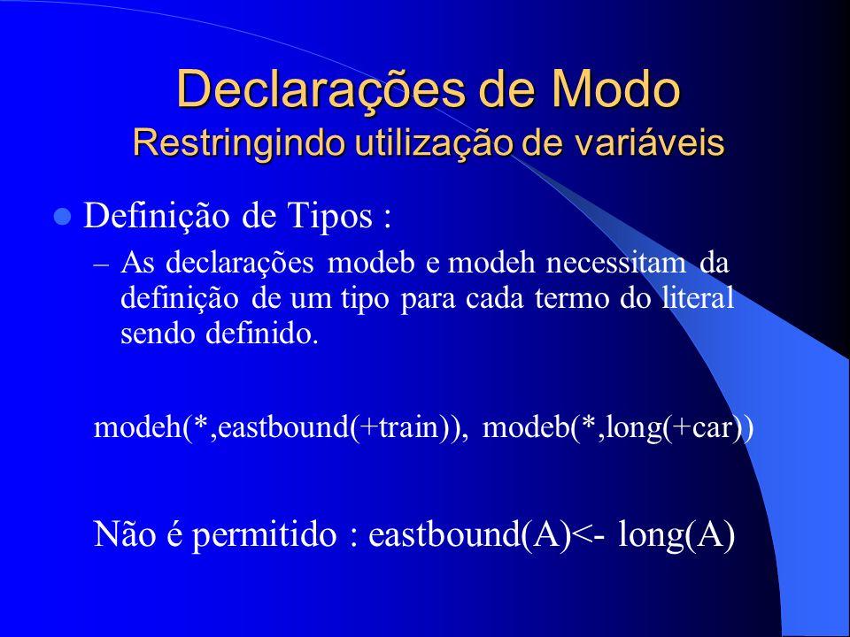 Declarações de Modo Restringindo utilização de variáveis Definição de Tipos : – Para cada tipo definido, nós devemos definir também o seu domínio.
