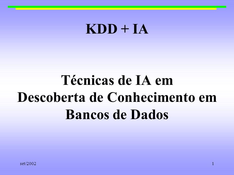 set/200212 Grupo BIOINFO-USP Mineração de Dados (dados extraídos do BD) - classificadores e técnicas de agrupamento - representação do conhecimento: objetos complexos/BD Relacional Interesses futuros: - técnicas de representação de conhecimento de IA - uso de conhecimento prévio