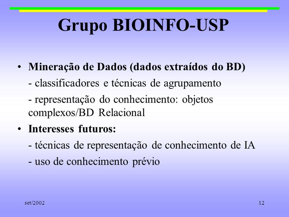 set/200212 Grupo BIOINFO-USP Mineração de Dados (dados extraídos do BD) - classificadores e técnicas de agrupamento - representação do conhecimento: o