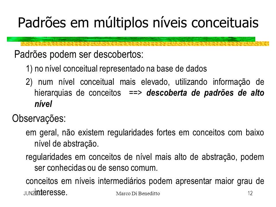 JUN2003Marco Di Beneditto12 Padrões em múltiplos níveis conceituais Padrões podem ser descobertos: 1) no nível conceitual representado na base de dado