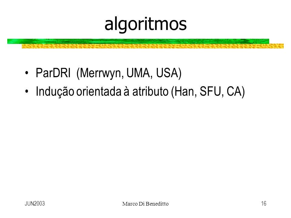 JUN2003Marco Di Beneditto16 algoritmos ParDRI (Merrwyn, UMA, USA) Indução orientada à atributo (Han, SFU, CA)