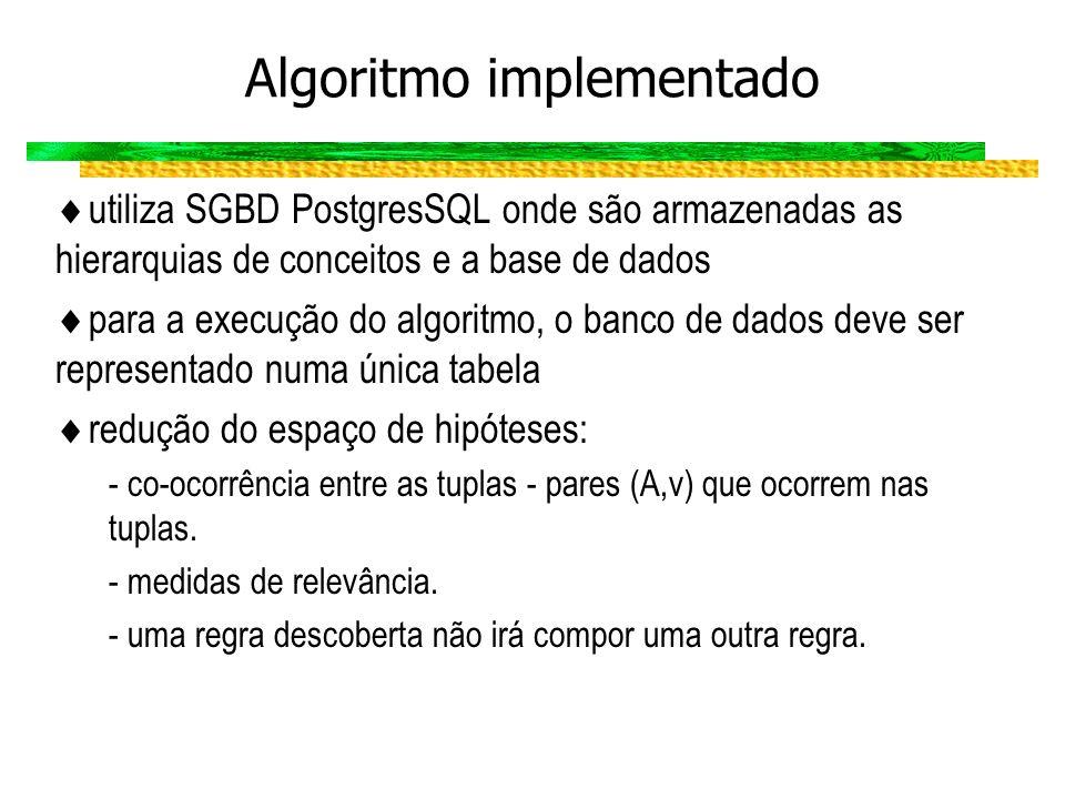 Algoritmo implementado utiliza SGBD PostgresSQL onde são armazenadas as hierarquias de conceitos e a base de dados para a execução do algoritmo, o ban