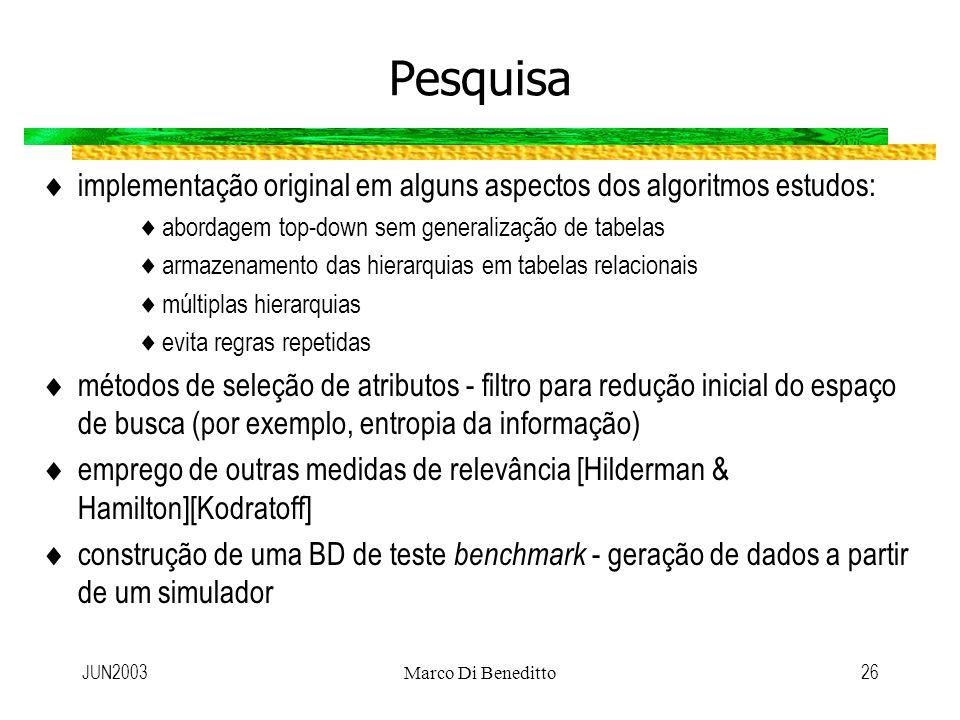 JUN2003Marco Di Beneditto26 Pesquisa implementação original em alguns aspectos dos algoritmos estudos: abordagem top-down sem generalização de tabelas