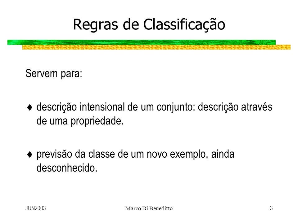 JUN2003Marco Di Beneditto3 Regras de Classificação Servem para: descrição intensional de um conjunto: descrição através de uma propriedade. previsão d