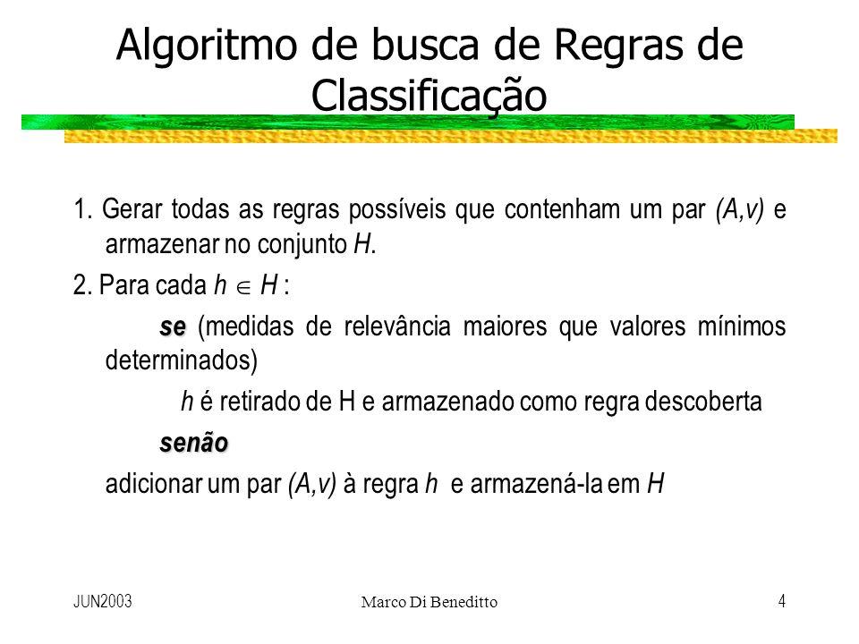 JUN2003Marco Di Beneditto4 Algoritmo de busca de Regras de Classificação 1. Gerar todas as regras possíveis que contenham um par (A,v) e armazenar no