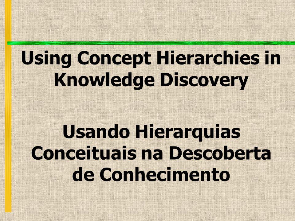 Using Concept Hierarchies in Knowledge Discovery Usando Hierarquias Conceituais na Descoberta de Conhecimento