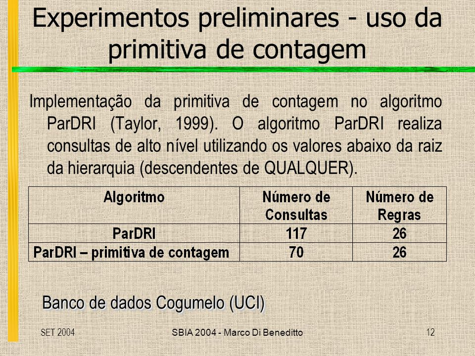 SET 2004SBIA 2004 - Marco Di Beneditto12 Experimentos preliminares - uso da primitiva de contagem Implementação da primitiva de contagem no algoritmo ParDRI (Taylor, 1999).