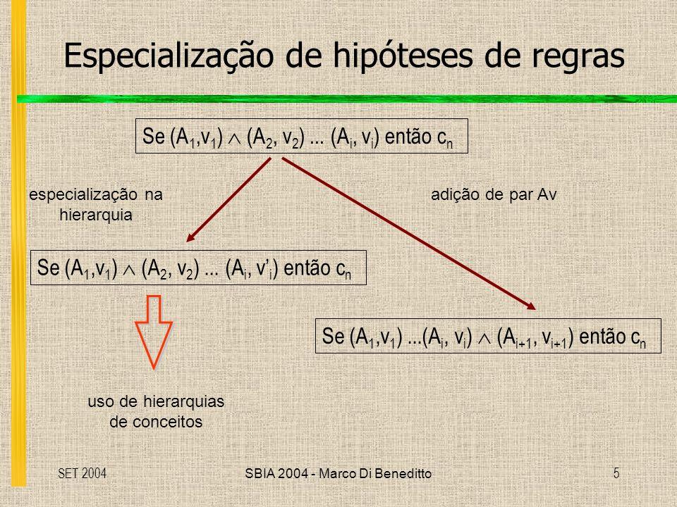 SET 2004SBIA 2004 - Marco Di Beneditto5 Especialização de hipóteses de regras Se (A 1,v 1 ) (A 2, v 2 )...