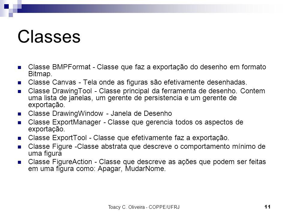 Toacy C. Oliveira - COPPE/UFRJ 11 Classes Classe BMPFormat - Classe que faz a exportação do desenho em formato Bitmap. Classe Canvas - Tela onde as fi